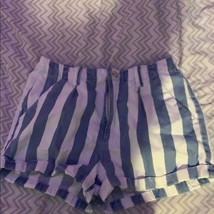 Forever 21 blue and white striped shorts